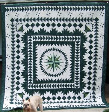 green and white quilt, nostalgia twist quilt
