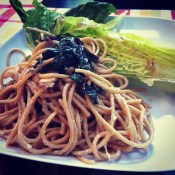 Spaghetti with garlicky greens and grilled romaine