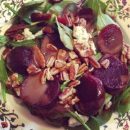 Spinach with goat cheese, beets, and pecans