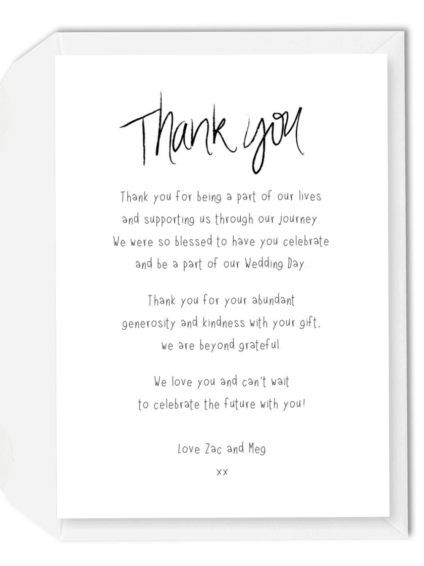 5 Wording Ideas For Your Wedding Thank You Cards The Love Of