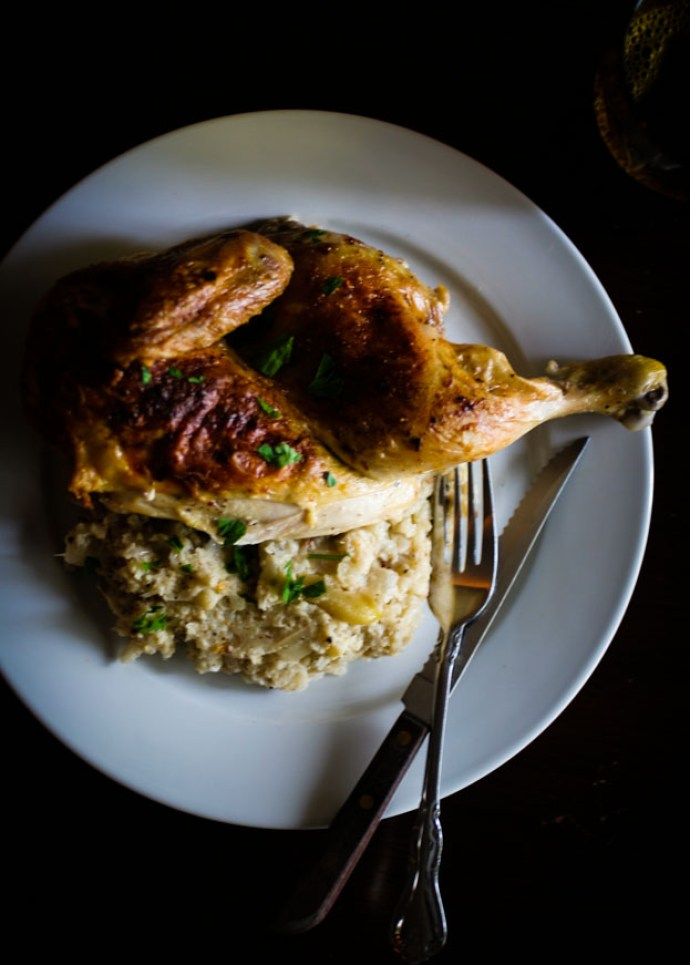 Roasted Chicken with Cauliflower Mash Table