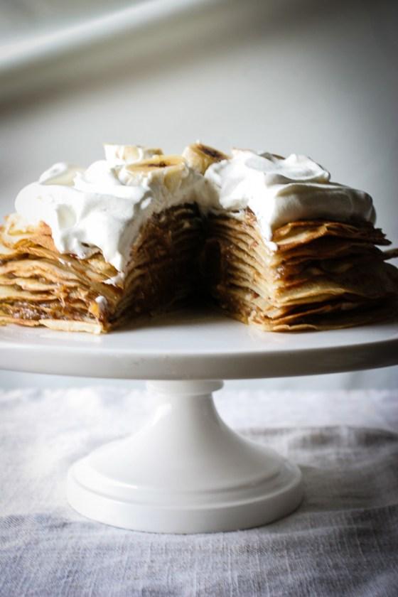 Sliced Bananas Foster Crepe Cake