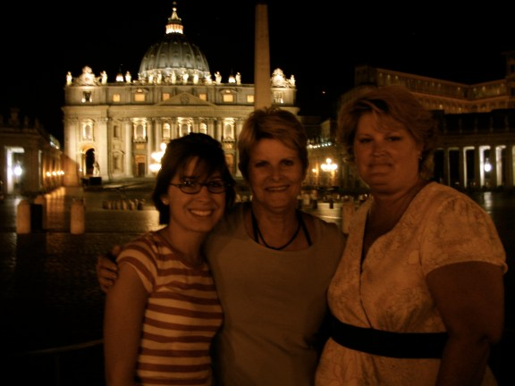 Saint Peter's Basilica at night: with my mom and grandma