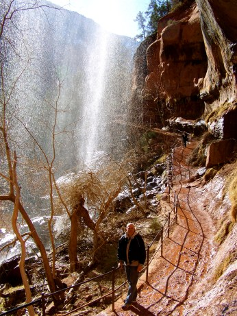 My dad at one of the waterfalls on the Emerald Pools Trail
