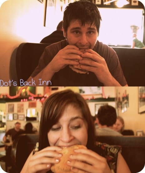 Alex and Me Eating Our Delicious Burgers