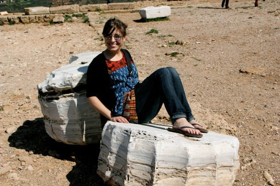 Sitting on Column Pieces From the Temple of Poseidon