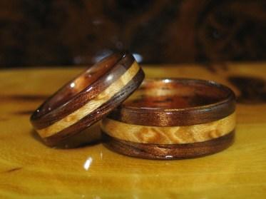 Dark Hawaiian Koa wedding bands with Bird's Eye Maple inlay