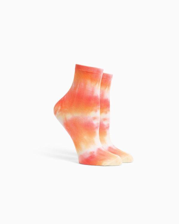 Women's Shibori Socks, Flamingo Orange Tie Dye