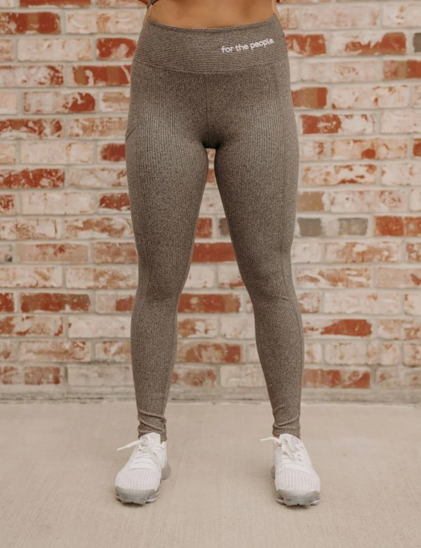 Ftp. Ribbed High Waisted Leggings In Gray
