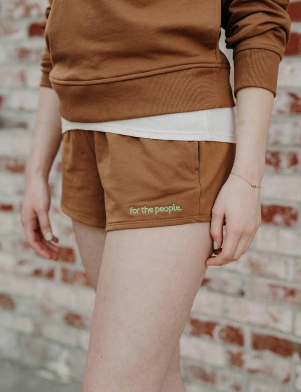 brown sweatshorts