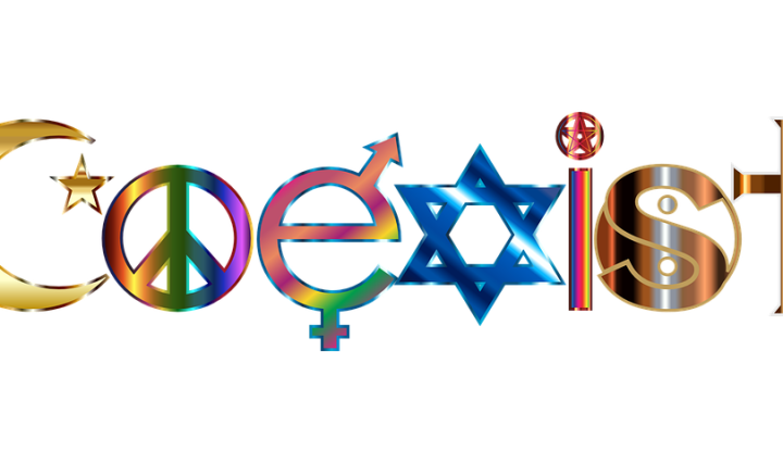 "Word ""coexist"" made up of religious symbols"