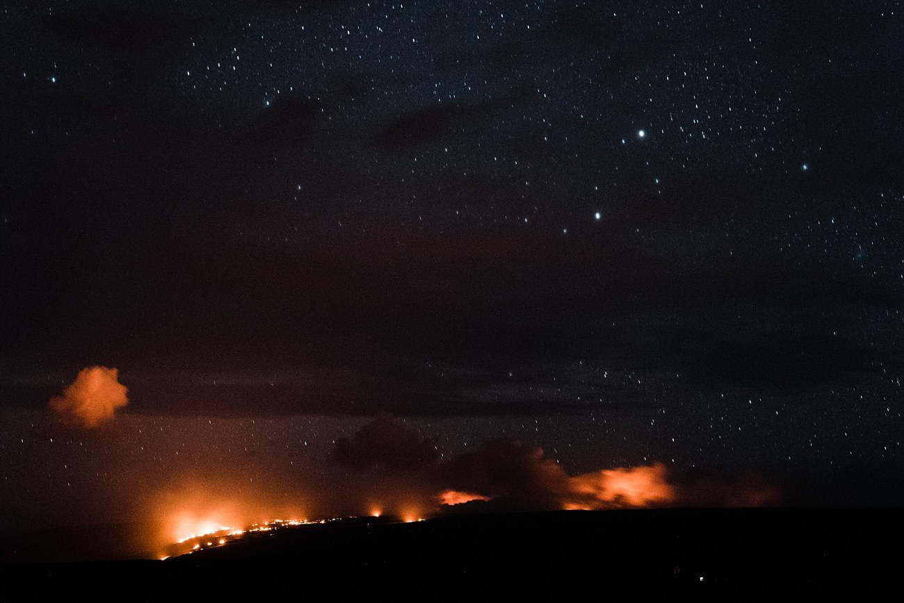 Photo of the Kalapana Lava Flow at night on the Big Island of Hawaii, taken by Laura Lango of Forthright Photo