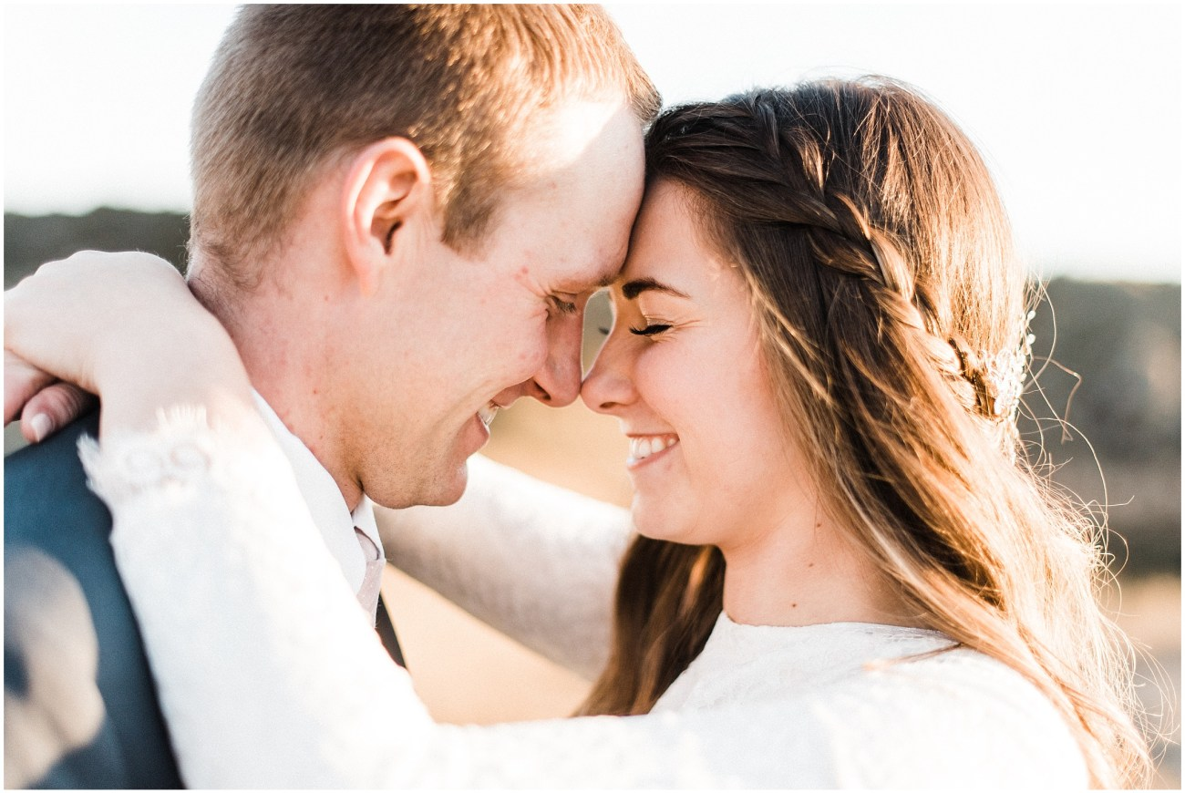 Close up photo of a bride and groom by Forthright Photo