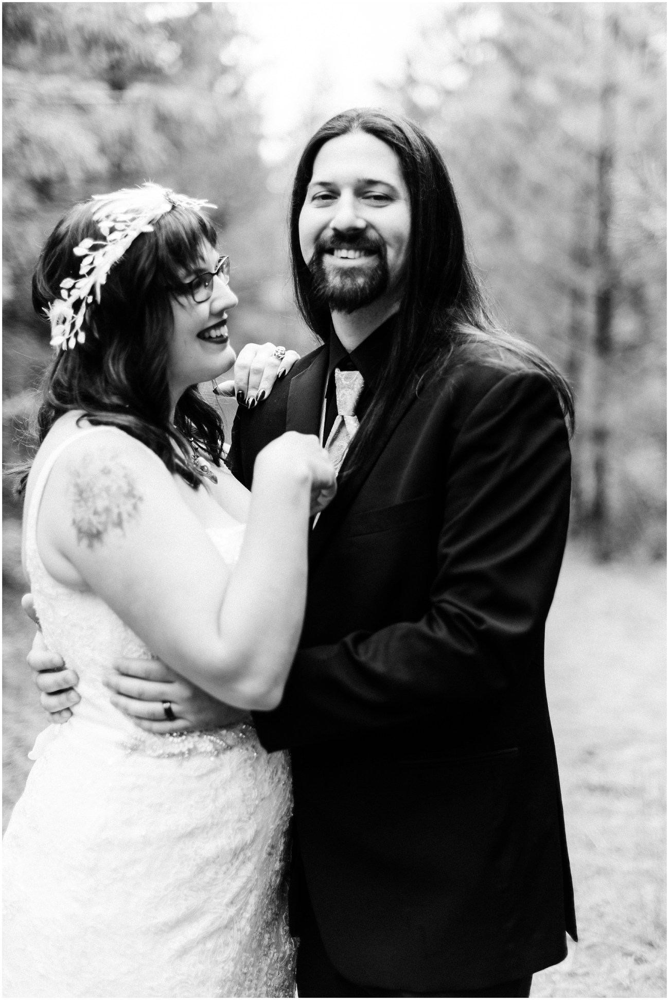 Black and White Photo of Daniel & Jennell's wedding on a private venue in Omak, WA by Forthright Photo