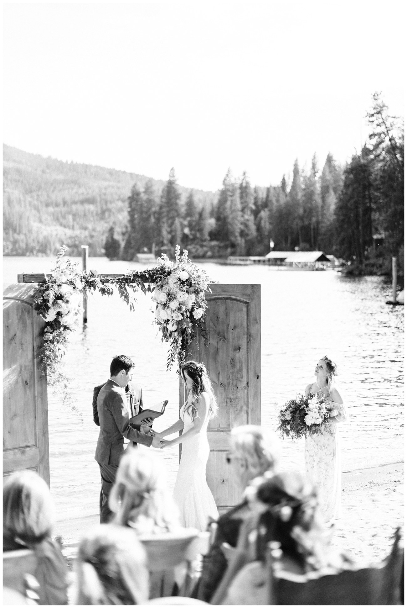 Britney & Stratton's wedding ceremony on Lake Coeur d'Alene taken by Forthright Photo