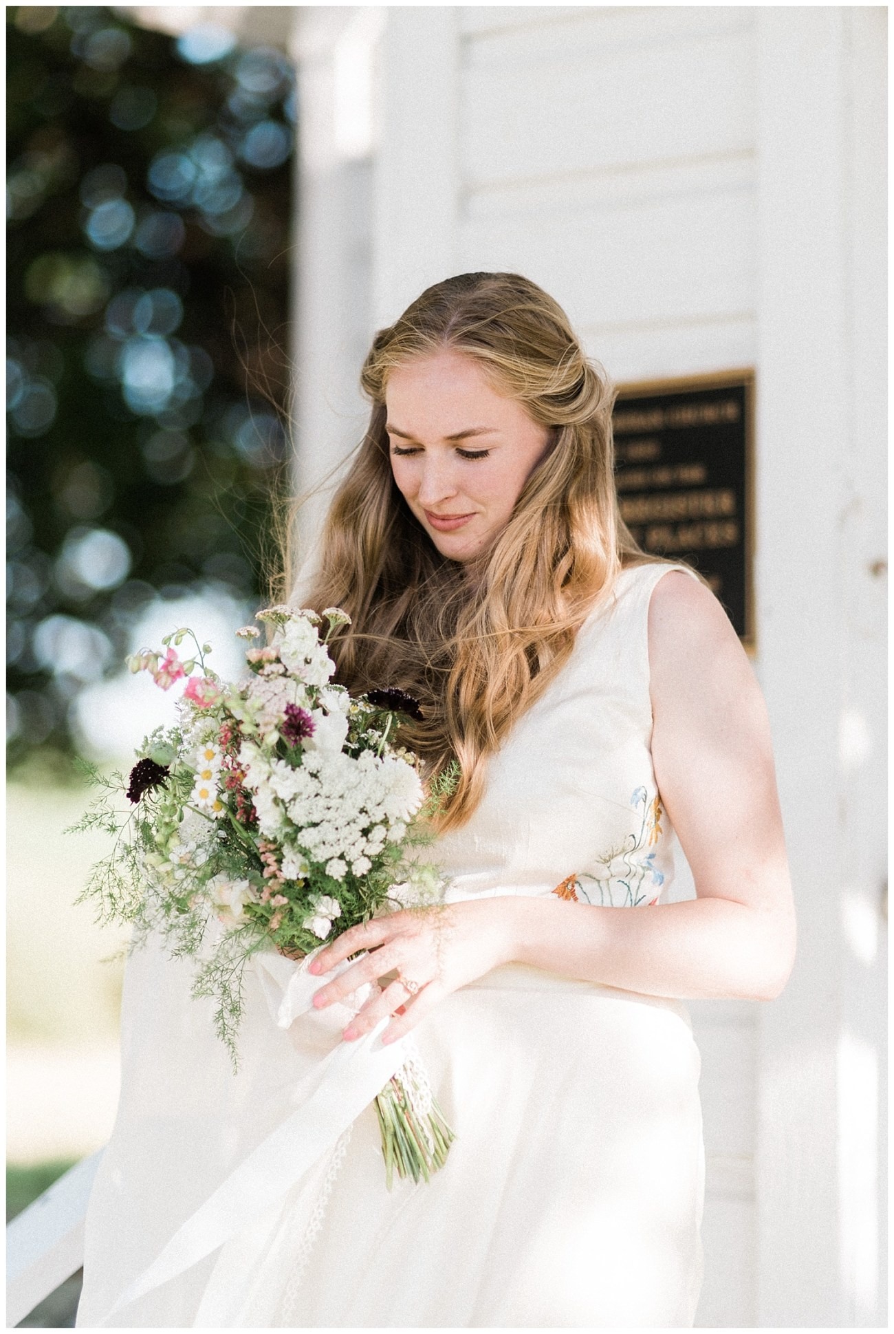 Photo of a Bride outside of Cordelia Church in Moscow, Idaho by Forthright Photo
