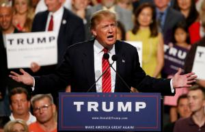 Republican presidential candidate Donald Trump speaks before a crowd of 3,500 Saturday, July 11, 2015, in Phoenix. (AP Photo/Ross D. Franklin)