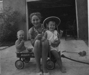 Julie and 2 babies during Hal's Korean War deployment