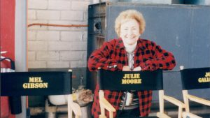 Julie Moore on the set of We Were Soldiers