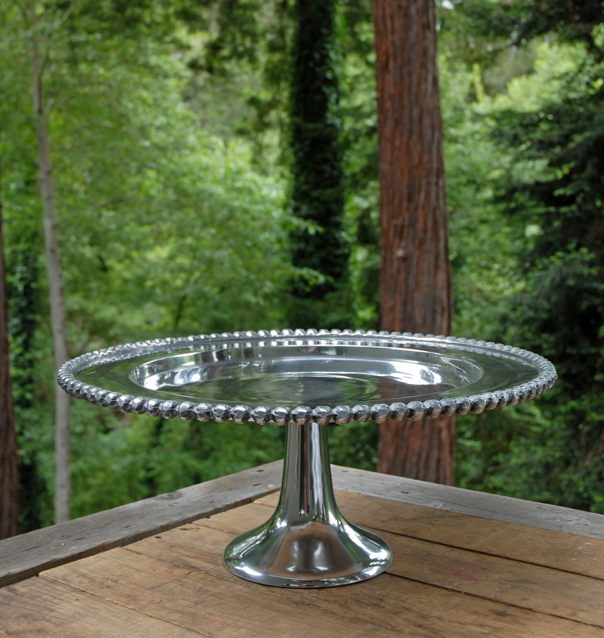 Party Rental Silver Pedestal Cake Stand