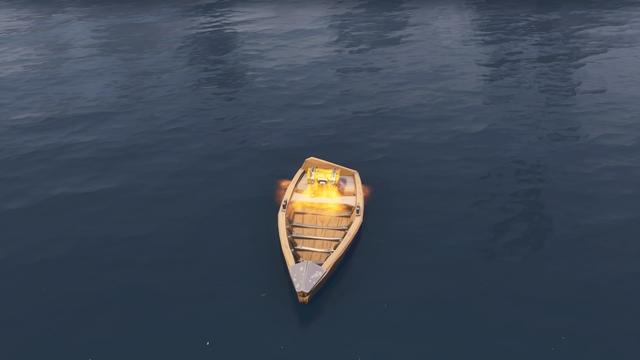 ルート・レイクの北西側に浮かぶ小舟の上にある宝箱