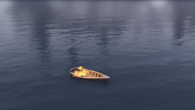 ルート・レイクの南西側に浮かぶ小舟の上にある宝箱