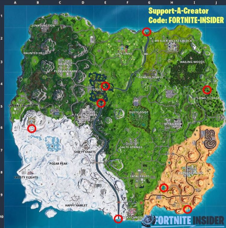 Mapa de desafío de horas extras de Fortnite All Waterfall
