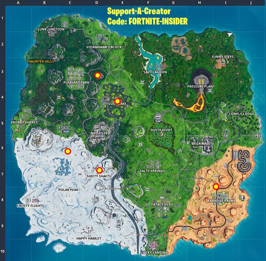 Fortnite Season X All Rift Locations Map