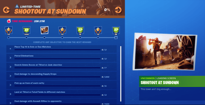 Fortnite Shootout at Sundown Mission - All Objectives Challenges