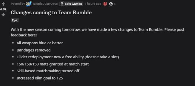 Fortnite v12.00 Patch Notes Team Rumble