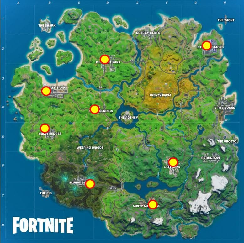 Fortnite Deliver Fish to Shadow Mailboxes Map Location
