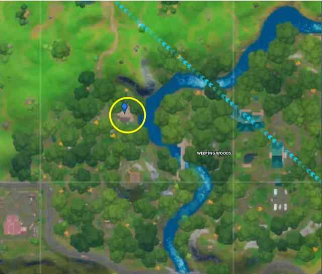 Fortnite Secret Challenges Bunker Map Location in Weeping Woods