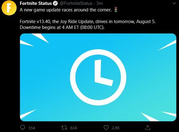 Actualización de Fortnite v13.40