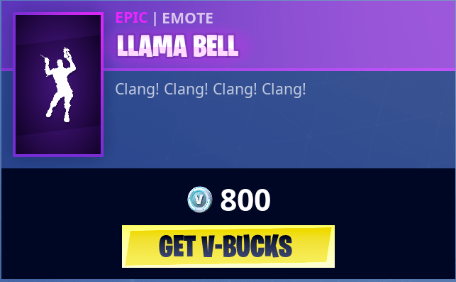 Llama Bell Dance Emotes Fortnite Skins