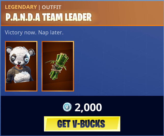 Fortnite Panda Team Leader Outfits Fortnite Skins