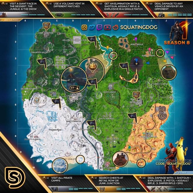 Fortnite Season 8 Week 1 Cheat Sheet Map