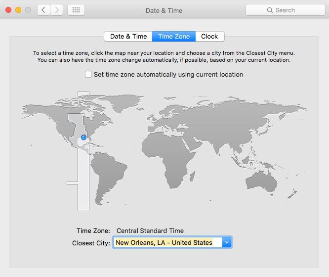 Apple iOS Time Zone