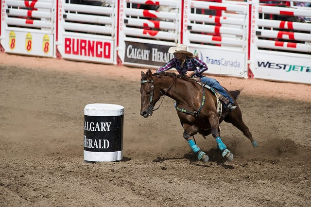 女子繞木桶比賽 Photo Credit: Bill Marsh / Calgary Stampede