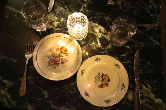 unique Victorian plates at Pigeonhole, Calgary