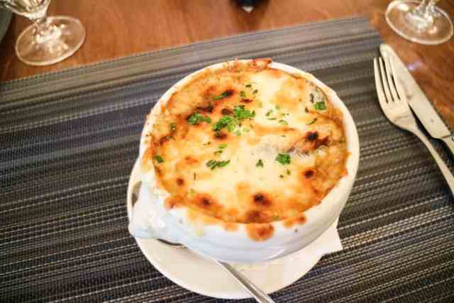 French onion soup from Fairmont Chateau Lake Louise, Banff