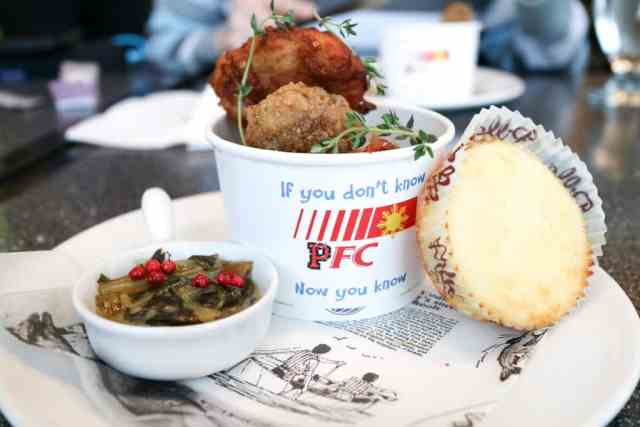 Fried chicken from Filipino Tikim Dinner at Brokin Yolk, Calgary
