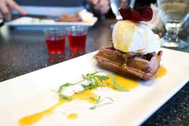 Duck confit yam waffle from Filipino Tikim Dinner at Brokin Yolk, Calgary