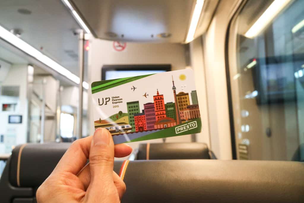 Presto Card for UP Express, Traveling from Pearson Airport to Toronto Downtown