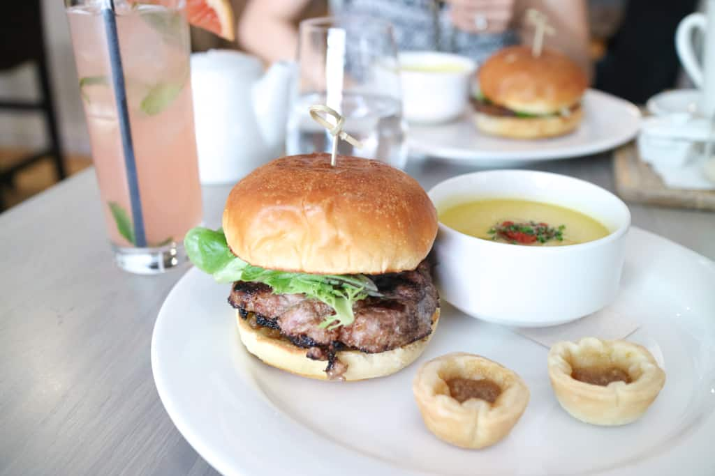 One punch lunch at Klein/Harris Calgary, featuring pork burger, soup and mini butter tarts