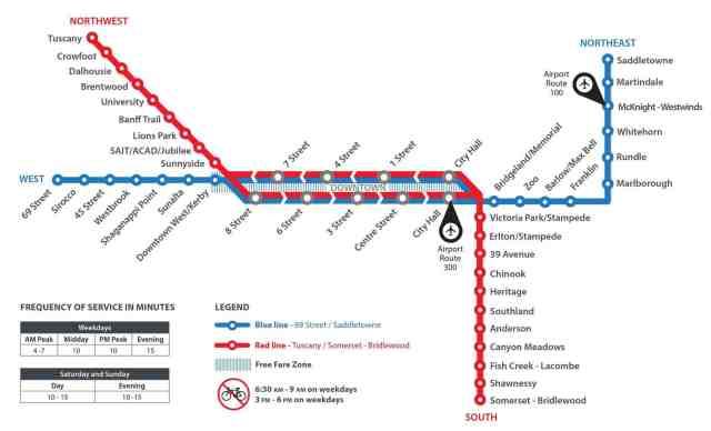 CTrain Map Calgary