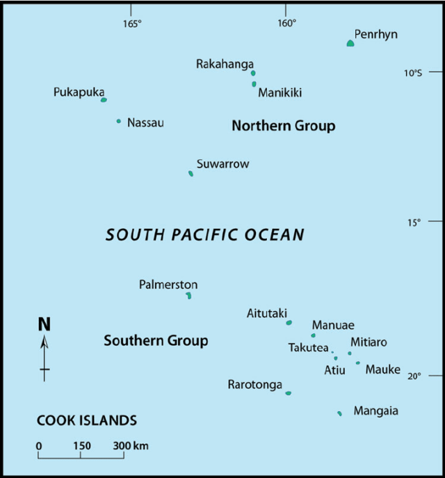 Map of Cook Islands