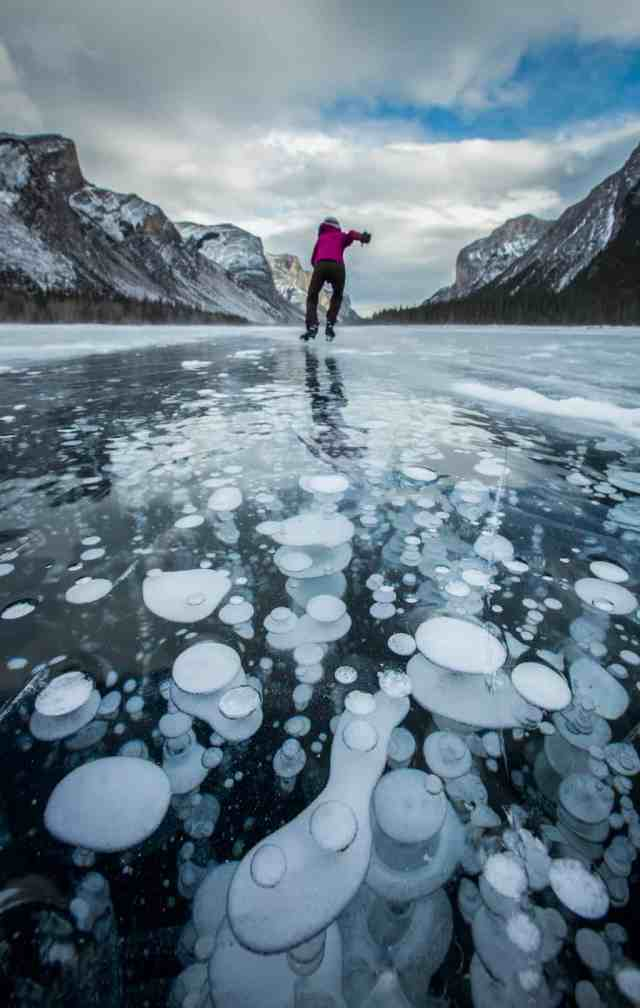 Banff Ice Skating Lake Minnewanka