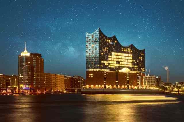 Hamburg Elbphilharmonie at night from Hafen
