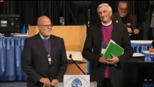 Bishops Wayne Wright and Todd Ousley announce the House of Bishops has made an election.