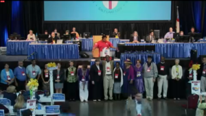 The Committee for the Confirmation of the Presiding Bishop gathers.